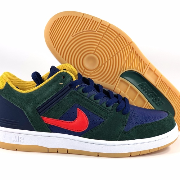 brand new c0bc8 ff874 Nike SB Air Force II Low Dark Green Red Navy Blue